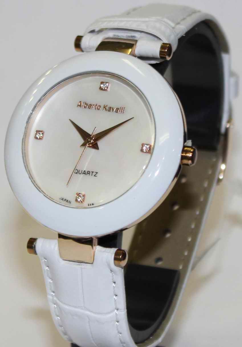 Часы Alberto Kavalli необычный циферблат - белые