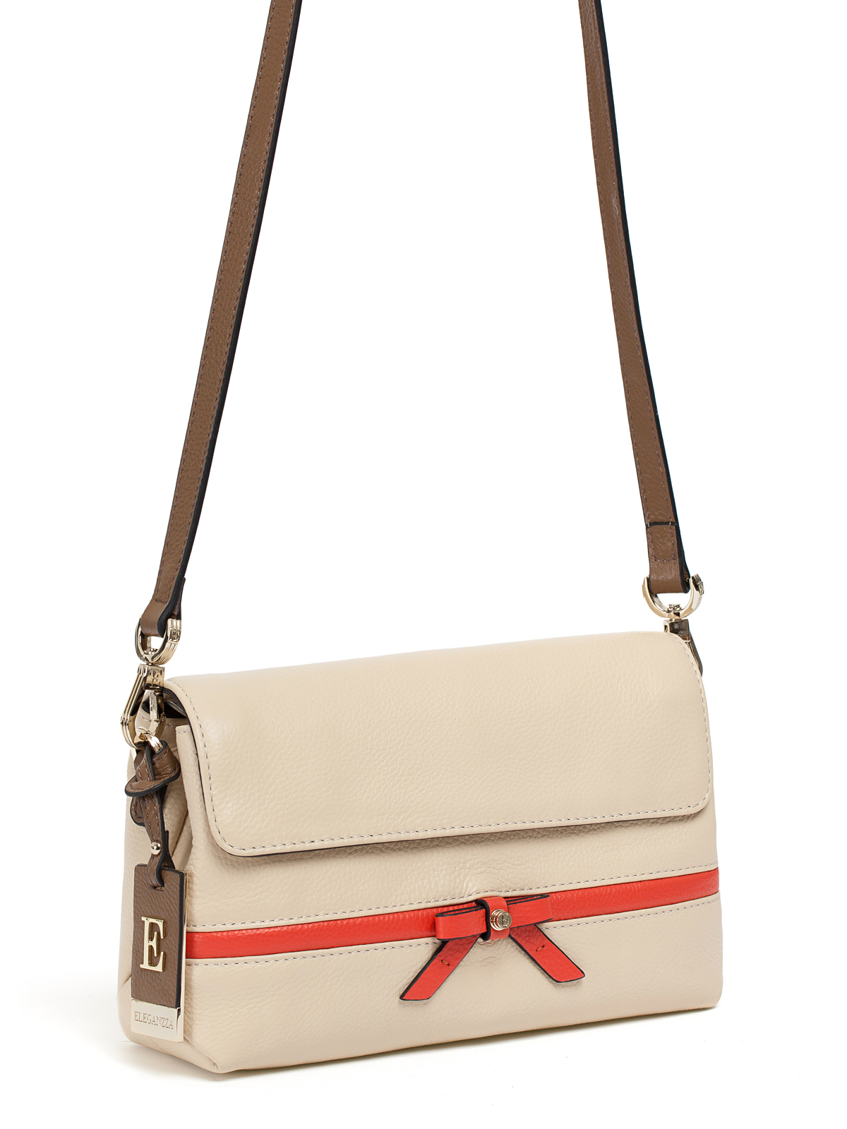Сумка ELEGANZZA Z28A-5639 ivory/taupe/coral